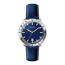 Buy Bulova 96b204 Men's Accutron Leather Strap Watch, Blue Online at johnlewis.com