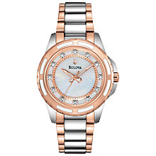 Buy Bulova 98P134 Women's Diamond Mother of Pearl Watch, Silver/Rose Gold Online at johnlewis.com