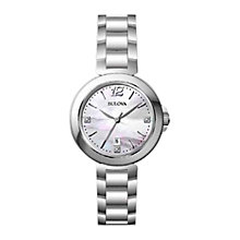 Buy Bulova 96P149 Women's Diamond And Mother Of Pearl Bracelet Watch, Silver Online at johnlewis.com
