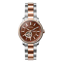 Buy Bulova 98A140 Men's Automatic Watch, Rose Gold / Silver Online at johnlewis.com