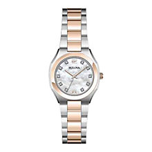 Buy Bulova 98P143 Women's Diamond Gallery Mother of Pearl Watch, Silver / Rose Gold Online at johnlewis.com