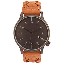 Buy Komono Unisex Chestnut Winston Woven Leather Strap Watch, Brown/Black Online at johnlewis.com