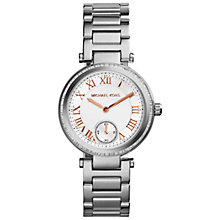 Buy Michael Kors MK5970 Women's Skylar Bracelet Strap Watch, Silver/White Online at johnlewis.com