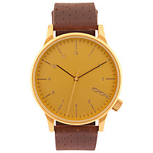 Buy Komono Unisex Gold Winston Leather Strap Watch, Brown/Gold Online at johnlewis.com