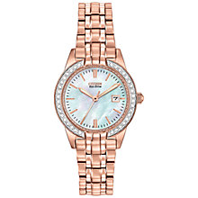 Buy Citizen EW1683-65D Women's Silhouette Mother of Pearl Swarovski Eco-Drive Stainless Steel Watch, Pearl/Rose Gold Online at johnlewis.com