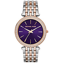 Buy Michael Kors MK3353 Women's Amethyst Watch, Silver/Rose Gold Online at johnlewis.com