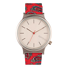 Buy Komono Unisex Paisley Wizard Watch, Red/Silver Online at johnlewis.com