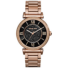 Buy Michael Kors MK3356 Women's Catlin Watch, Rose Gold / Black / Mother of Pearl Online at johnlewis.com