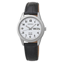 Buy Seiko SUT195P1 Women's Solar Leather Strap Watch, Silver/Black Online at johnlewis.com