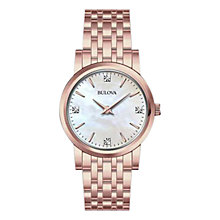 Buy Bulova 97P106 Women's Diamond Mother Of Pearl Bracelet Watch, Rose Gold Online at johnlewis.com