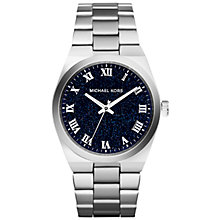 Buy Michael Kors Channing MK6113 Women's Pave Quartz Polished Stainless Steel Watch, Blue / Silver Online at johnlewis.com