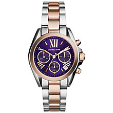 Buy Michael Kors MK6074 Women's Bradshaw Watch, Silver / Rose Gold / Purple Online at johnlewis.com
