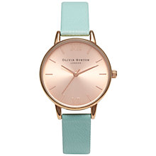 Buy Olivia Burton OB14MD24 Women's Midi Leather Strap Watch, Mint/Rose Gold Online at johnlewis.com