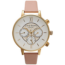 Buy Olivia Burton OB15CG46 Women's Detailed Chronograph Leather Strap Watch, Dusky Pink Online at johnlewis.com