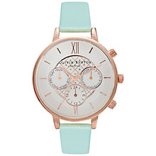 Buy Olivia Burton OB15CG47 Women's  Women's Big Dial Chronograph Leather Strap Watch, Mint/Rose Gold Online at johnlewis.com