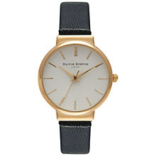 Buy Olivia Burton OB15TH01 Women's Hackney Leather Strap Watch, Black/Gold Online at johnlewis.com