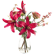 Buy Peony Casablanca Lilies and Roses in Waist Vase, Fuchsia Online at johnlewis.com