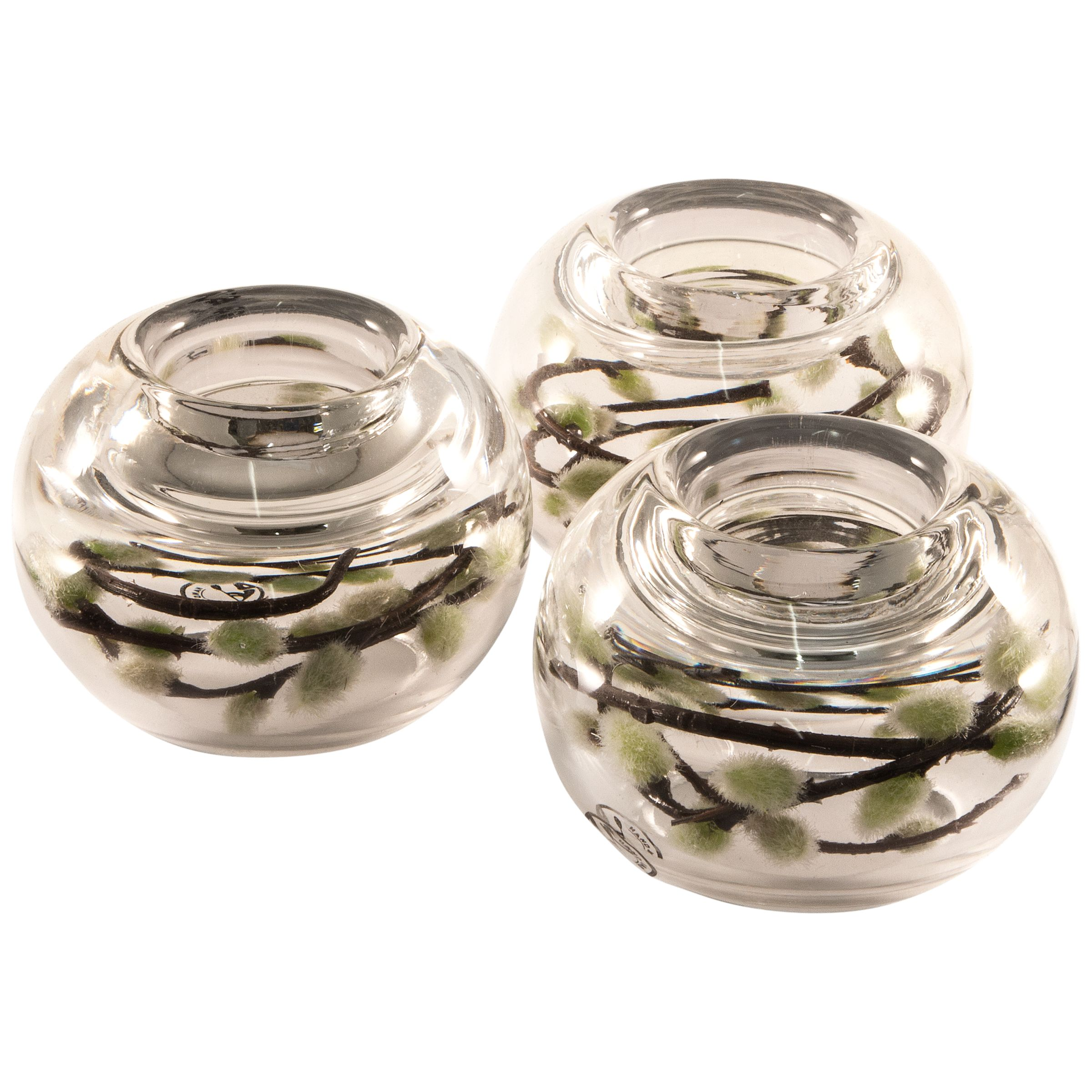 Peony Peony Pussy-Willow in a Tealight Holder, Set of 3