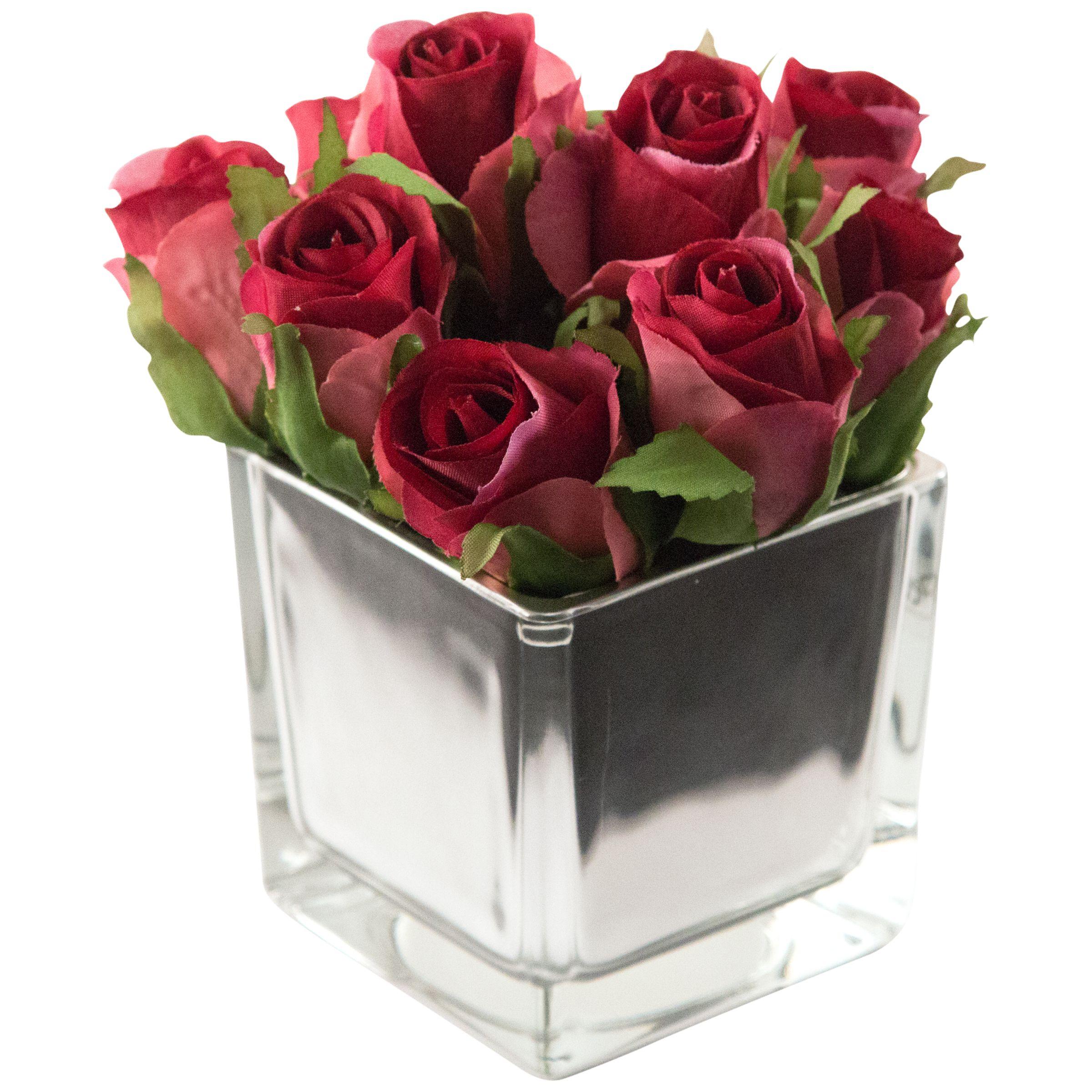 Peony Peony Roses in Mirror Cube, Yellow, Small