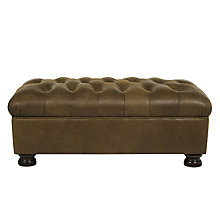 Buy John Lewis Cambridge Aniline Leather Footstool, Jin Brown Online at johnlewis.com