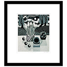 Buy Jane Walker - Bowl of Black Cherries Framed Linocut, 50 x 53cm Online at johnlewis.com