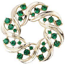 Buy Susan Caplan Vintage 1960s Lisner Light Gold Plated Wreath Brooch, Silver/Green Online at johnlewis.com