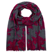 Buy Hobbs Hand Drawn Rose Print Scarf, Grey Multi Online at johnlewis.com
