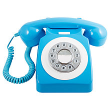 Buy GPO 746 Retro Rotary Phone, Neon Blue Online at johnlewis.com