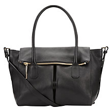 Buy Whistles Zip Flat Leather Tote Bag, Black Online at johnlewis.com
