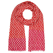 Buy John Lewis Contrast Border Spot Scarf, Red Online at johnlewis.com