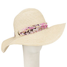 Buy John Lewis Floppy Sun Hat With Floral Tie, Natural Online at johnlewis.com