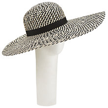 Buy John Lewis Open Weave Floppy Hat, Black/White Online at johnlewis.com