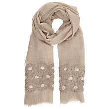 Buy John Lewis Embroidered Flower Scarf, Taupe Online at johnlewis.com