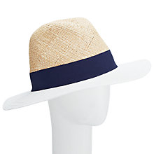 Buy John Lewis Straw & Braid Fedora Hat, Natural Online at johnlewis.com