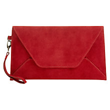 Buy Jigsaw Envelope Suede Clutch, Red Online at johnlewis.com