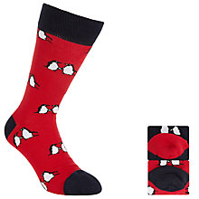 Buy John Lewis Monty & Mabel Penguin Men's Socks, Pack of 2, One Size, Red/Navy Online at johnlewis.com