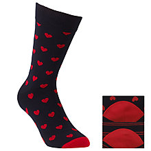Buy John Lewis Heart Socks, One Size, Pack of 2, Navy/Red Online at johnlewis.com