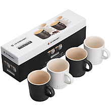 Buy Le Creuset Espresso Mug Gift Set, 4 Pieces, Black/Cotton Online at johnlewis.com