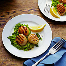 Scallops with Minty Pea Puree