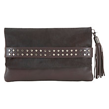 Buy Mint Velvet Hayley Stud Strap Leather Clutch Bag, Purple Online at johnlewis.com