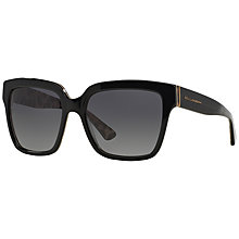 Buy Dolce & Gabbana DG4234 Polarised Square Sunglasses, Black / Leopard Online at johnlewis.com