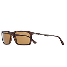 Buy Ray-Ban RB4214 Rectangular Polarised Sunglasses, Matte Havana Online at johnlewis.com