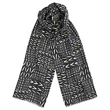 Buy Reiss Silk Multi Leaf Print Scarf, Charcoal Online at johnlewis.com