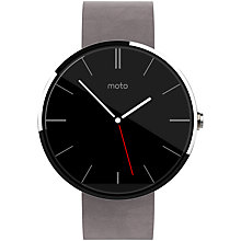 Buy Motorola Moto 360 Smartwatch, Android Wear, Light Chrome Case, Grey Leather Band Online at johnlewis.com