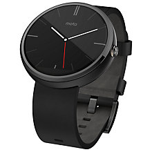 Buy Motorola Moto 360 Smartwatch, Android Wear, Dark Chrome Case, Black Leather Band Online at johnlewis.com