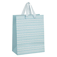 Buy John Lewis Baby Blue with Wavy Stripe Gift Bag, Small Online at johnlewis.com