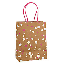 Buy John Lewis Foil Confetti Gift Bag, Pink, Small Online at johnlewis.com