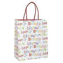 Buy John Lewis Happy Birthday Textured Gift Bag, Medium Online at johnlewis.com