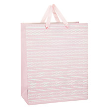 Buy John Lewis Pink with Wavy Stripe Gift Bag, Medium Online at johnlewis.com