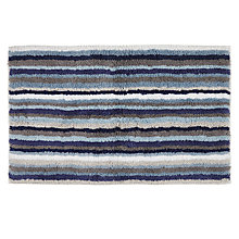 Buy John Lewis Reversible Stripe Bath Mat Aqua Online at johnlewis.com